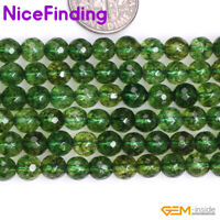 """6, 8mm Round Faceted Green Peridot Loose Stone Beads For Jewelry Making 15"""" Gift"""