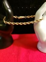 "14K Yellow Gold 7"" Solid Rope Chain Bracelet 13.2 g . Preowned, Not scrap gold"