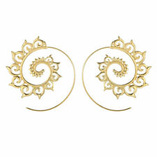 Gold Spiral Drop Earrings love sun Whirlpool festival Gear Earrings Women