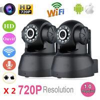 2x Wireless 720P Pan Tilt WiFi IP Network Camera Security IR Night Vision Webcam