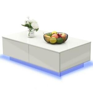 White High Gloss Coffee Table RGB LED 16 Colours Living Room Furniture