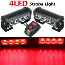 2Pcs Red Car Strobe Flashing Grille 4 LED Light Warning Hazard Emergency 12V 4W