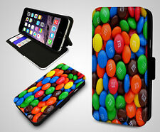 Colourful M&M's Chocolate Candy Sweets Cool Leather Wallet Flip Phone Case Cover