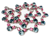 Vintage Silver Tone / Plated Blue Pink Paste 16 Inch Necklace - GIFT BOXED
