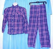 Esprit Girls' Pajama Set Red Green Blue Plaid 100% Cotton Long Sleeve Buttons 14