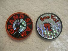 Grand Slam & See Ya! Wouldn't wanna be ya! Slammers Pogs Bottle Caps Boys Girls