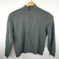 Polo Ralph Lauren Mens Size XL Grey 1/4 Zip Long Sleeve Heavy Sweater