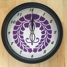 Kamon Japanese Family Crest Kujofuji (WIATERIA) 9 - 9.5 inch Wall Clock