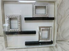 """Pottery Barn Mini Frames & Ledges Set of 3 Wooden Silver 2.5 x 2"""" New Old Stock"""