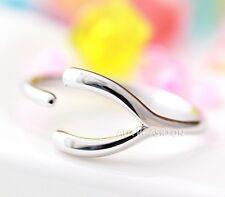 Womens Wishbone Ring Silver Rhodium Size Adjustable Simple Band Gift Idea byr37