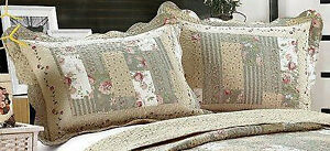 All For You-2 PC quilted pillow shams- standard size- embroidery matched *55*