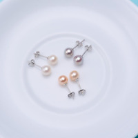 3/4/5/6/7/8mm ROUND Freshwater Cultured Pearl Stud Earrings 925 Sterling Silver