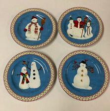 1998 Debbie Mumm Sakura Snowman Set of 4 Salad Dessert Plates Christmas with Box