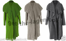 New Italian Boiled Wool Mix Coat LAGENLOOK Waterfall Pocket Duster Jacket 12-22