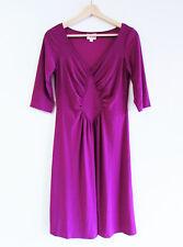 Leona Edmiston Size 1/XS-S Plum V-Neck Ruched Bodice Jersey Short Sleeve Dress