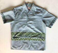 Vintage Iolani Men's Hawaiian Aloha Shirt Tiki size M Light Blue
