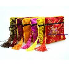 Portable Multicolor Chinese Silk Zipper Accessories Packing Pouch Jewelry Bag