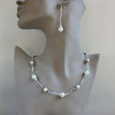 Vintage pearl crystal collar necklace bracelet earrings wedding silver set cream