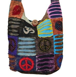 Om Peace Patchwork Shoulder Sling Cotton Bag Traditional Festival Ethnic Hippie