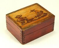 ^ Antique 1930's Mexican Art Deco Inlaid Intarsia Wooden Dovetailed Box, Signed