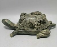 Collectible china fengshui old Bronze Carve Small tortoise and turtle Statue Box