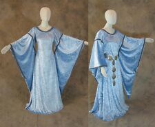 Sky Blue Medieval Bell Sleeve Dress Gown Sca Game of Thrones Cosplay Costum L Xl
