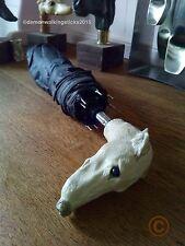 Ladies Black Collapsible Umbrella - 'Greyhound/Whippet' Handle. Arts & Crafts