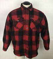 Woolrich Vintage Heavy Wool Flannel Shirt Men's Size XL Red Black Plaid