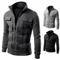 Blazer Tops Slim Collar Stand New Winter Outwear Military Men's Jacket Coat Fit