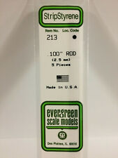 NEW Evergreen Scale Models #213 Polystyrene Rod .100 x 14 in 5 Pk