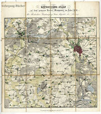 Altkolorierte Manöverkarte Berlin/Umgebung, 1832,  Metallographie Bös/Maierski