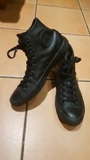 Converse All Star Hi Top Chuck Trainers Leather Mono Black Unisex UK 8