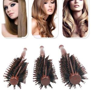 Straight Twill Hair Comb Natural Boar Bristle Rolling Brush Round Barrel Blo P4