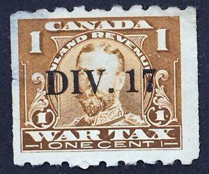 """Lot52 Canada War Tax Stamp FWT17 """"Div 17"""" Precancel """"thin"""""""