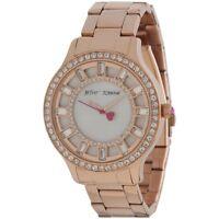 New Womens Betsey Johnson Rose Gold Crystal Glitz Watch BJ00157-20 $155