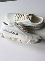 NWOB CALVIN KLEIN JEANS White Monte Sneakers Size UK 7.5 Casual Shoes Trainers