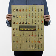 New Home Decor Vintage Musical Guitar Pattern Picture Kraft Paper Poster Utility
