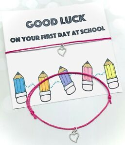 First Day At School Gift Wish Bracelet Good Luck Best Friend Pal Mate pencil