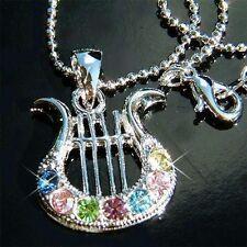 Rainbow w Swarovski Crystal ~HARP music Musical Instrument Pendant Necklace Xmas