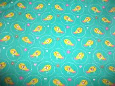 LITTLE YELLOW SONG BIRDS ON GREEN COTTON TWILL FABRIC