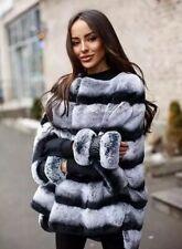 Vero CINCILLA 'Wrap naturale Fur Giacca Maglione Con Cerniera Cappotto Rex Rabbit