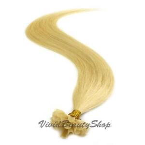 100 Pre Glue Bond U Tip Straight Remy Human Hair Extensions Light Ash Blonde #22