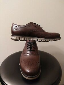 NEW Men Cole Haan Zerogrand Wingtip Oxford Shoe Burnished Wine Leather 8 C30279