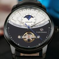 FORSINING Business Automatic Mechanical Watch for Men Leather Strap Moon Phase