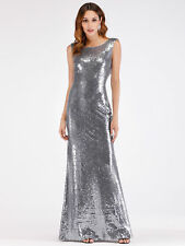 Ever-Pretty Silver Sequins Bodycon Prom Dresses Long Formal Evening Party Dress