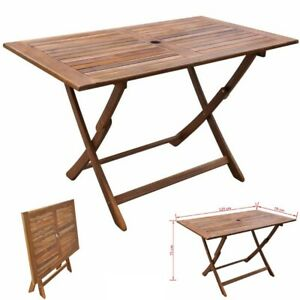 Rectangle Wooden Dining Patio Table Outdoor Garden Folding Table Solid Furniture