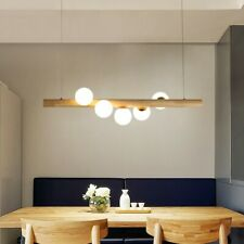 Wooden Linear Pendant Light Glass Globe 5-Light Kitchen Island Pendant Fixture