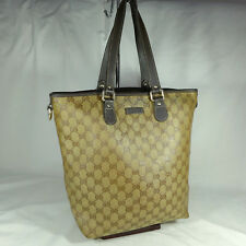 Authentic Gucci Brown GG Crystal Coated Canvas Medium Tote Handbag Purse