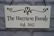 Personalised Family Name Plaque Wooden Sign Established New Home Wedding Gift