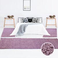 Bettumrandung Shaggy Hochflor Teppich Einfarbig Pastell Lila Modern Schlafzimmer
